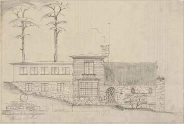Denne villaen teikna Leif Grung i 1943. Byggherre (eller - frue) var Elsa Ellingsen. Huset ligg eit steinkast frå Leifs eige funkispalass - Villa Grung. Eit godt bilete på korleis Grung varierte når det gjaldt stil.